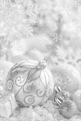 Christmas ornaments on snow. Decoration Christmas tree.