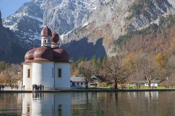 St Bartholomä from  the boat view in Königssee