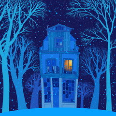 Background image of a winter forest and old two-storey house