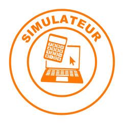 simulateur ordinateur sur bouton web rond orange