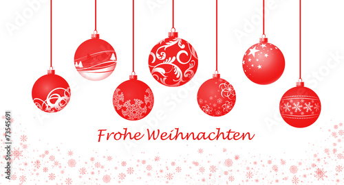 canvas print picture Weihnachtskugeln / rot