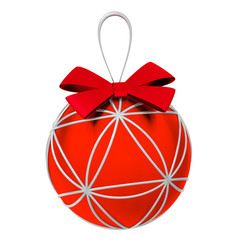 Red Christmas decoration ball with bow, 3d