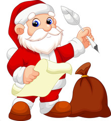 Santa Claus with gift sack record list of good children