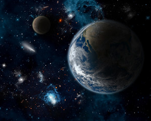 Space background with planet Earth