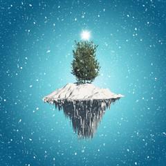 Christmas tree floating island background