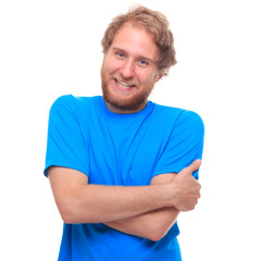 Portrait of a happy bearded man on white