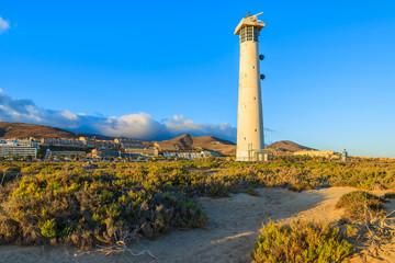 Lighthouse on Morro Jable beach, Fuerteventura, Canary Islands