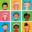 Children in holiday Christmas hats