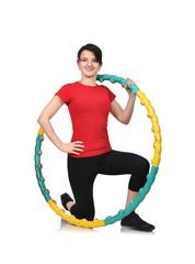 beauty woman with hula hoop