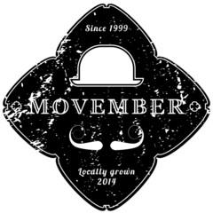 Mustache vintage emblem of Movember | retro, grunge texture.