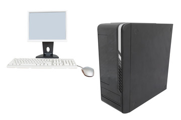 Monitor, computer mouse and keyboard