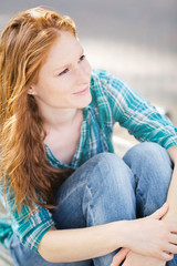 Casual Young Woman with Red Hair