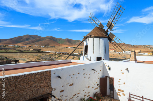 Leinwanddruck Bild Traditional old windmill in Tiscamanita village, Fuerteventura