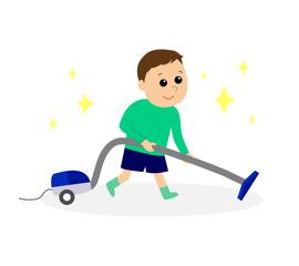 A boy vacuuming the floor