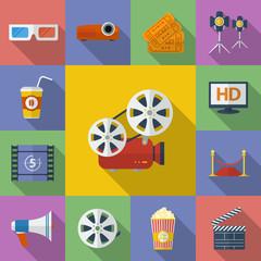 Set of Cinema, Movie icons. Flat style