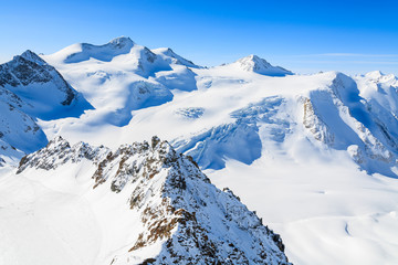 Mountains covered with snow in ski resort of Pitztal, Austria