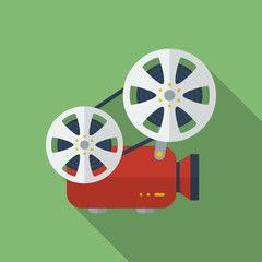Icon of Film Projector. Cinema Projector. Flat style
