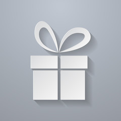 Icon of Gift. Paper style
