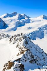 View of Wildspitze mountain in ski resort of Pitztal, Austria
