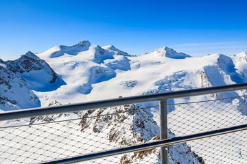 Viewpoint platform in Pitztal mountain ski resort, Austrian Alps