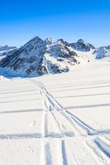 Ski tracks in winter mountains resort of Pitztal, Austrian Alps