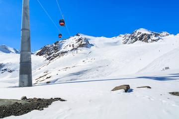 Lift in winter mountain ski resort of Pitztal, Austrian Alps