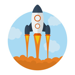 Icon of Flying Rocket. Start Up symbol. Flat style