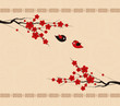 background with chinese lanterns and bird