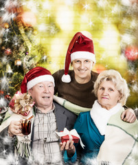 Portrait of friendly family are looking at camera on Christmas e
