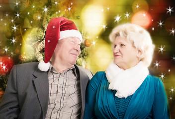 Happy beautiful elderly couple celebrating new family, holidays,