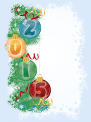 Happy new 2015 year xmas balls, vector