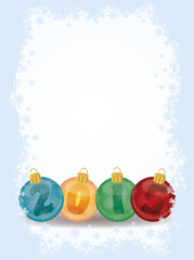 Happy New 2015 year xmas balls card, vector