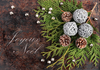 Christmas rustic concept with Merry Christmas in French