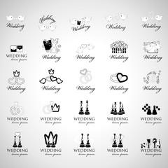 Wedding Icons Set - Isolated On Gray Background
