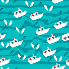 Vector seamless sea pattern with fish and sea