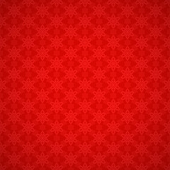 Seamless red pattern with snowflakes