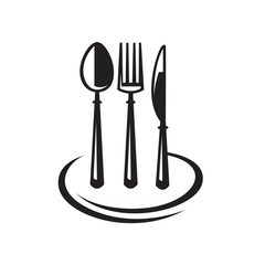 monochrome set of knife, fork, spoon and plate