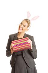 Portrait of a woman wearing bunny ears