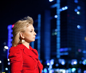 Girl with city nightscape