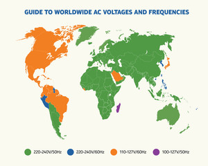 Guide to worldwide AC voltages and frequency