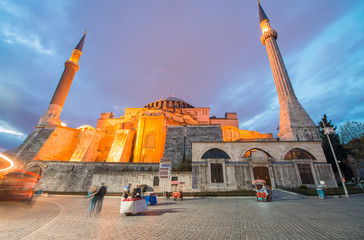 Sunset view of Hagia Sophia from street level, Istanbul