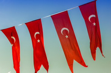 Flags of Turkey in Istanbul sky