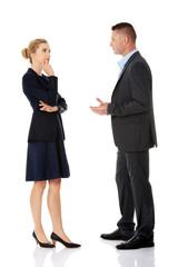 Professional conversation between businesspeople