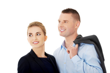 Couple talking about their corporation