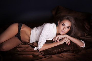 Sensual woman posing in lingerie