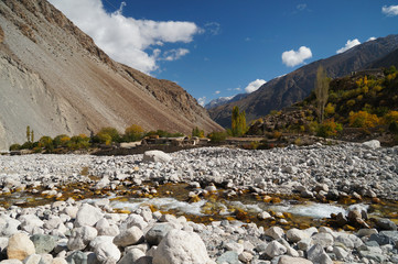 Small river in Ghizer Valley in Northern  Pakistan