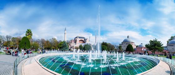 Wonderful view of Sultanahmet Square Fountain with Hagia Sophia