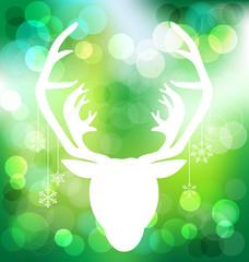 Christmas reindeer on bokeh background