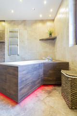 Luxury bathroom with modern bathtub