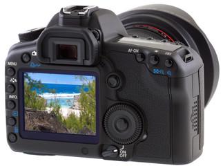 Trou d'Argent, île Rodrigues sur écran appareil photo